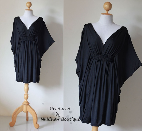 Black Butterfly Kaftan Blouse Casual Short Dress Chic & Casual Collection