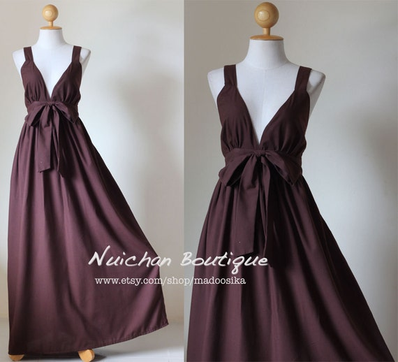 Long Brown Maxi Dress Elegant V-styled Neck : Love Party Collection