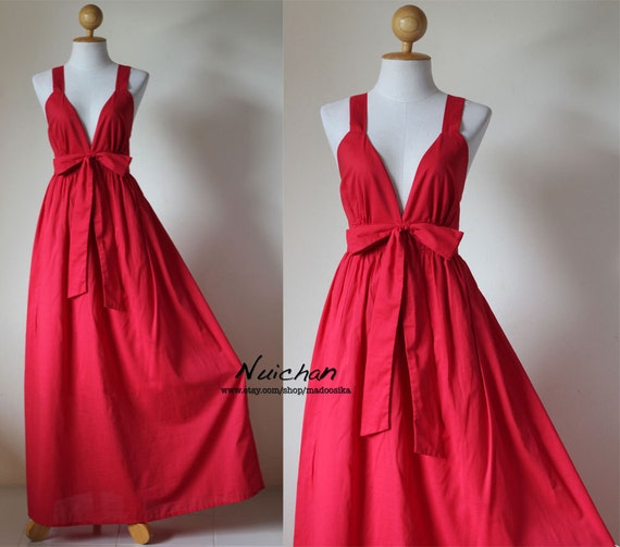 Long Red Dress Cocktail Bridesmaid Summer Maxi Dress : Love Party Collection