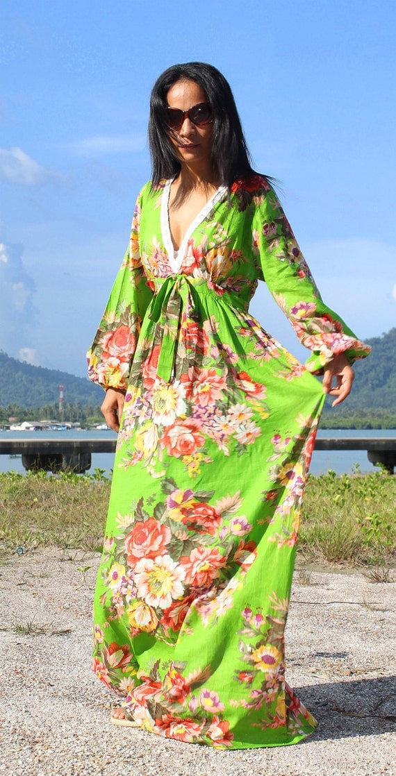 Boho Maxi Dress Long Sleeves Floral Print : Asian Blend Flower Girl Collection