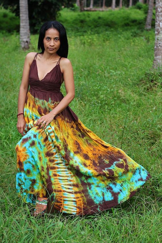 Long Maxi Dress Cotton Tie Dye : Exotic Collection