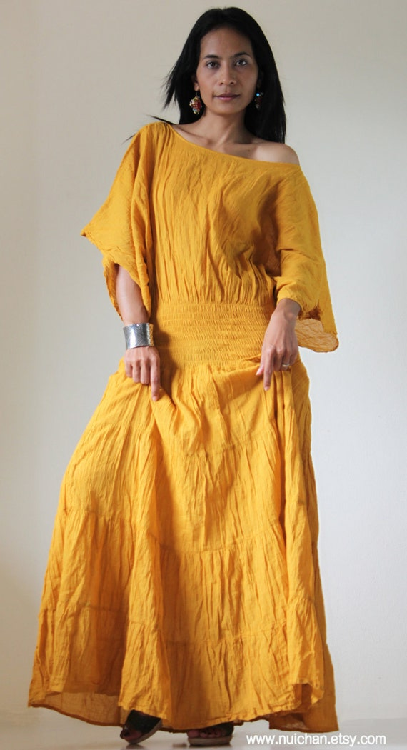 Long Kaftan Maxi Dress Tie Dye Yellow Mustard Boho Cotton Gown : Exotic Collection