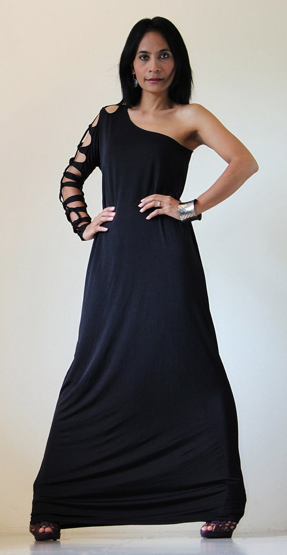 Long Black Dress Funky Tube Evening Gown : Elegant Collection