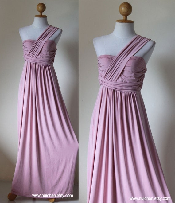 Long  Dust Pink Dress Tiered One shoulder halter : Elegant Collection