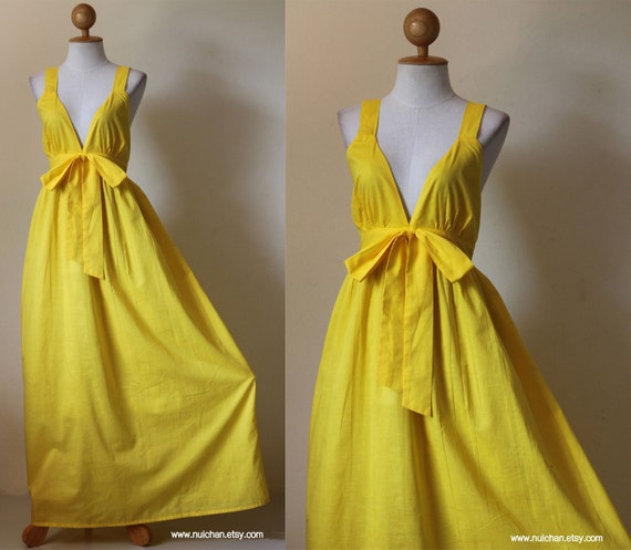 Reserved for Amy Burns: Yellow Elegant Bridesmaid V-styled Neck Long Maxi Dress Love Party Collection