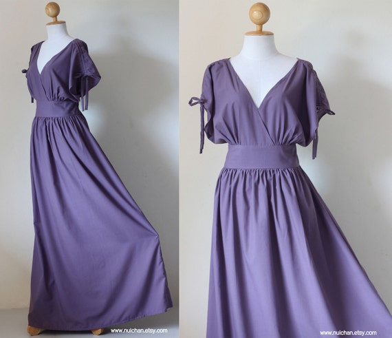 Purple Maxi Dress - Sleeveless dress or Short Sleeve Cotton Evening Dress : Classy Gorgeous Collection
