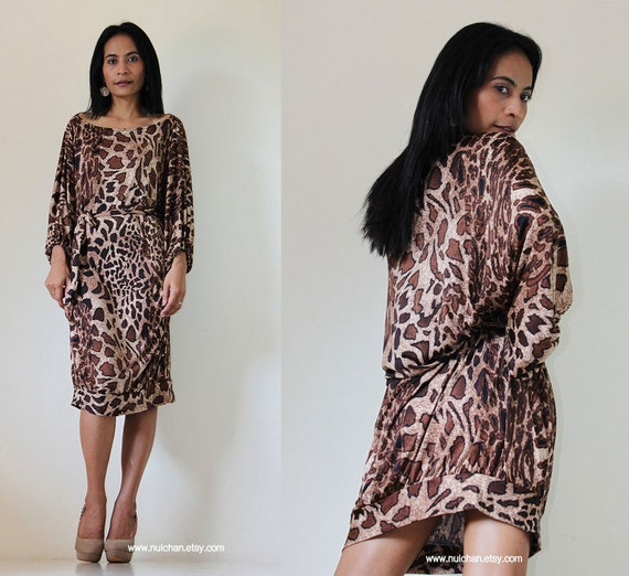 Reserved for Victoria Loose Fit Wide Neck 3/4 Sleeve Tunic Short Animal Print Dress  : Chic & Casual collection