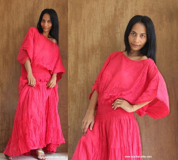 Long Kaftan Maxi Dress Tie Dye Mars Red Boho Cotton Gown : Exotic Collection