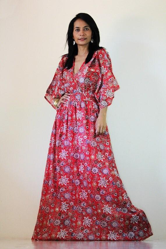 Red Kimono Dress Women Kaftan Floral Maxi Dress : Boho Kimono Collection