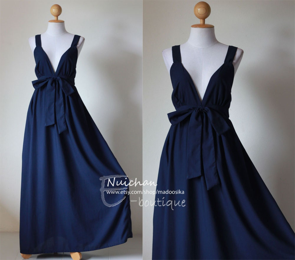 Navy blue maxi dress elegant v styled neck long bridesmaid for Long navy dress for wedding