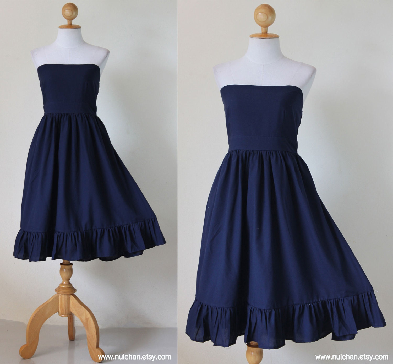 Navy blue short dress strapless wedding prom party cotton for Navy dresses for weddings