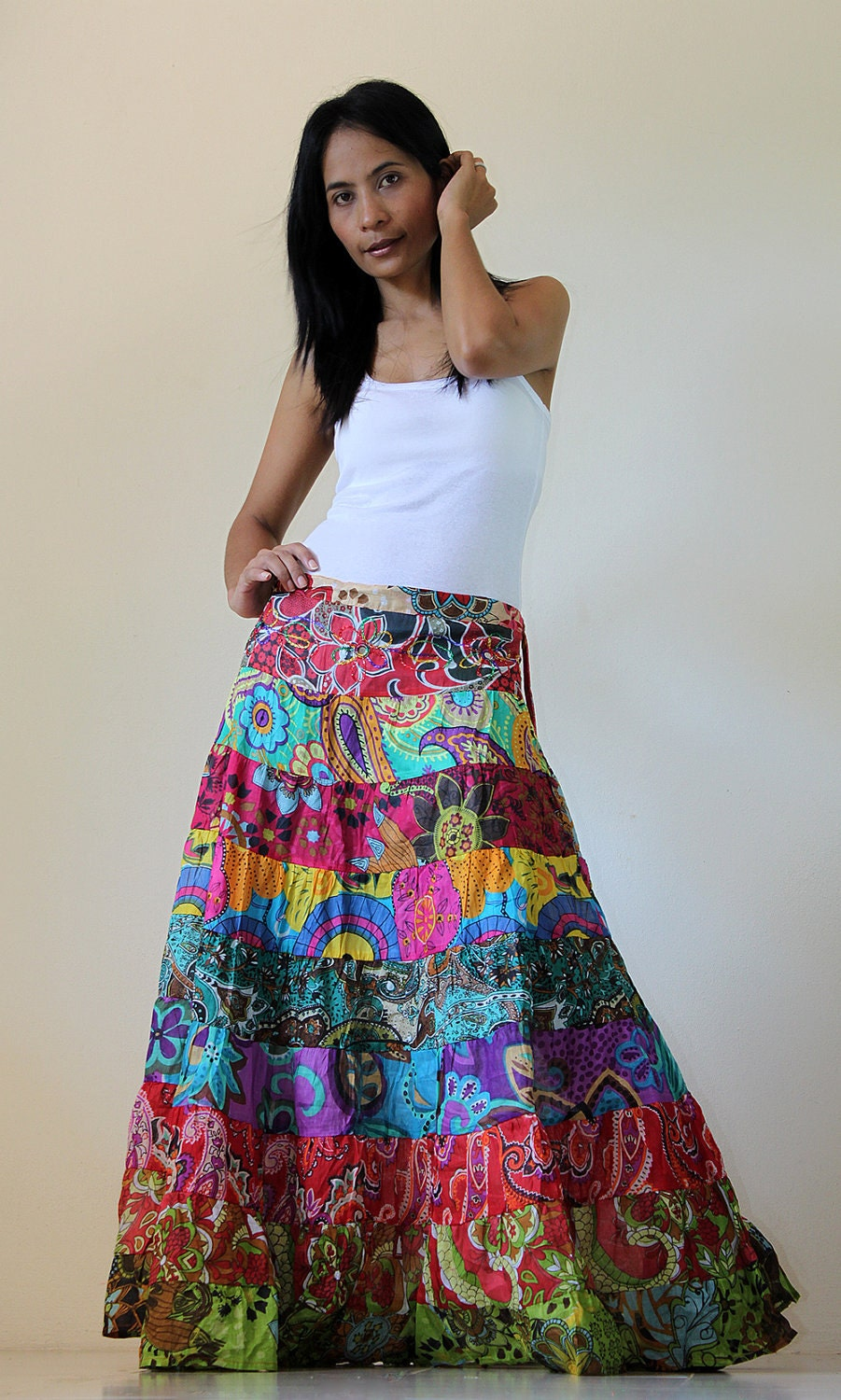 patchwork maxi skirt boho patchwork collection ii