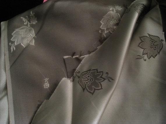 Beautiful Golden Tan and Brown Silk Floral Fabric