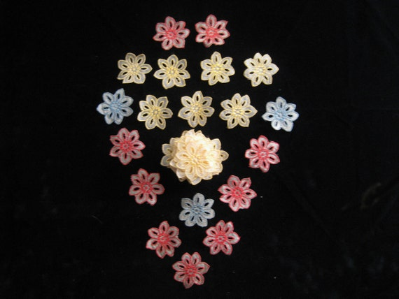 Vintage Voile Embroidered  Lace Flower Appliques / Medallions-Yellow Red and Blue