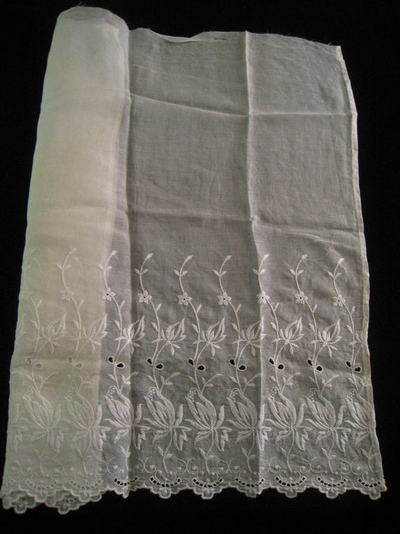 Vintage Voile Fabric with Embroidered Edging