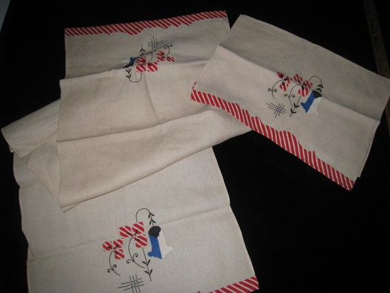 Pair of Vintage Ivory Linen Bureau Scarves with Applique  Embroidered Designs and Edging