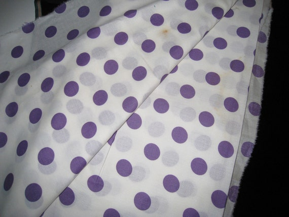 RESERVED for LM Vintage Purple and White Polka Dot Cotton Fabric