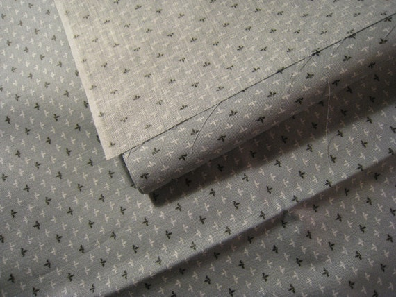 SOLD RESERVED for Lee Vintage  Cotton  Fabric- Gray with darker gray and white design