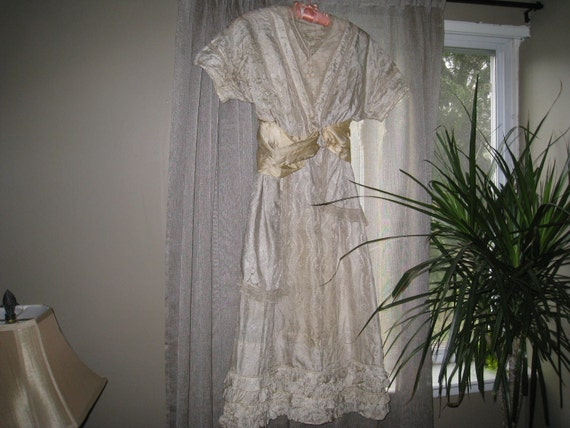Victorian Ivory Silk  and French Lace  Dress with Golden Silk Sash- Vintage