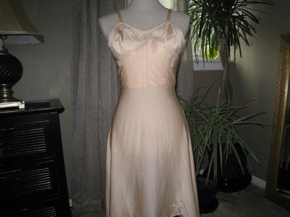 Vintage Peach Silk Slip with Lace Applique Bodice