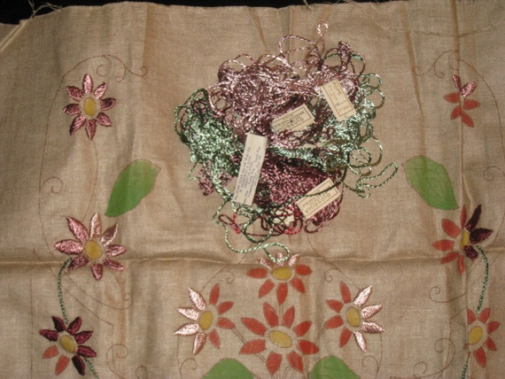 Vintage unfinished embroidered linen pillow cover or by