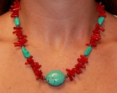 RESERVED for LuRena Sylva - Handmade Red Coral, Turquoise Magnesite and Bali Sterling Silver Necklace