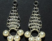 Silver and Pearl Chain Maille Earrings