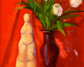 White Tulips • Red Painting • Original Art • Oil Paintings • Daily Painters • Daily Painting • Original Oil Paintings • Tulips • Limes