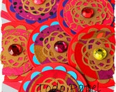6 scrapbook embellishments. Indian style. Deep red, purple, aqua, gold.