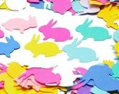 Easter Bunny confetti table scatters. Pastel rabbit paper punch die cuts