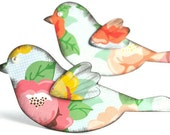 2 spring bird scrapbook embellishments . designer floral paper . 3D . easter . spring . cute . wall decor . pink . green . dove . nature