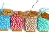 Bakers twine . four colors . red . turquoise . mint . taupe . small . cotton . 40 yards (10 yards rolls) . handmade mini tags . super cute