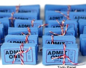 Admit one tickets . scrapbook embellishment . numbered . cobalt blue . cinema . movies . theatre . carnival . set of 50 . scrapbook idea