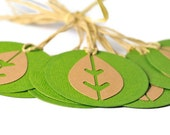 Green leaf tags set of 10 Textured paper circle tags with natural hemp recycled