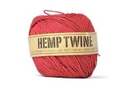 Red hemp fiber cord . 100% natural . 20 yards . string . gift wrap ties . supplies . gift tag . yarn . ribbon