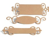 READY TO SHIP | Kraft paper fancy tag labels die cut tags with ornate edge. Scrapbooking brackets brown paper name plates
