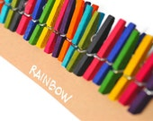 READY TO SHIP | Colored mini clothespins in rainbow colors. 20 wooden pegs in 1 inch miniature colorful clips