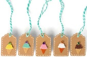 Gift tags . kraft mini tags . Italian ice cream cone . 10 ct . brown paper . small . hang tag . mint bakers twine . summer . embellishment