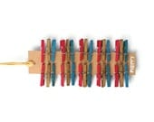 Mini clothespins . colored wooden pegs . preppy colors . turquoise . fuchsia . walnut . 1 inch paper clip . miniature favor embellishment