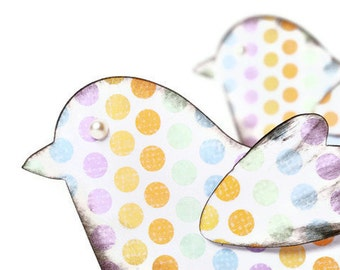 Bird paper scrapbook embellishments in soft pastel polka dots. Easter Decoration | Pastel Colors Paper Birds Die cuts | Scrapbook embellish