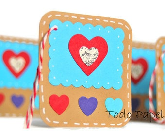 Turquoise Heart gift tags gift embellishment. Red, aqua kraft paper hang tags 6 set