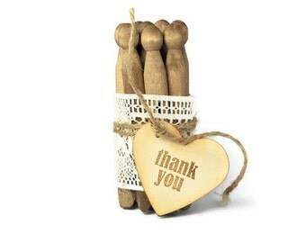 Vintage wooden clothespin wedding favors. Walnut stained clothes pegs with lace. Rustic weddings, natural rustic home decor. Thank You gifts