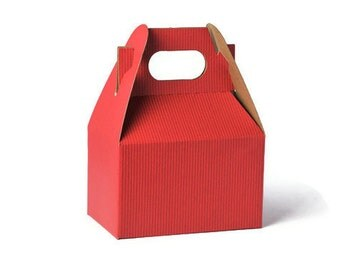 READY TO SHIP | Red Mini gable kraft boxes.  10 Red party favor gift boxes. Treat box gift packaging. Small Party Gift boxes Gable Party Box