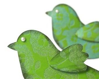 Paper Bird embellishments | Kelly green textured designer paper St Patrick's party decor. Irish Green scrapbook paper die cuts | Irish Luck