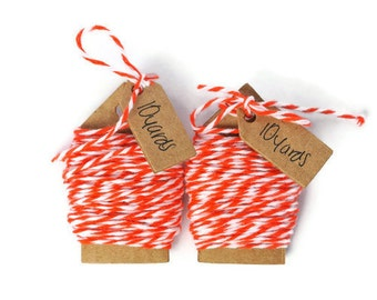 Tangerine orange soft cotton bakers twine. 20 yards of cotton string thin cord