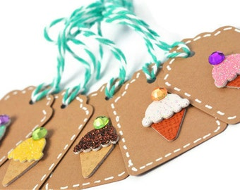 Italian Ice cream mini gift tags. Summer gift toppers. Whimsy Ice cream cone small hang tags. Summer party embellishments. Dimensional Tag