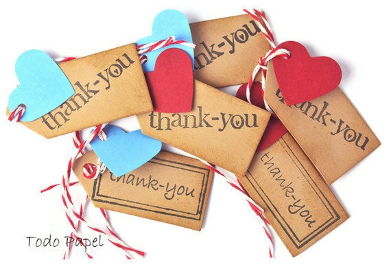 Thank you kraft mini tags with red and turquoise hearts . red bakers twine ties . small gift embellishment . scrapbooks . brown paper