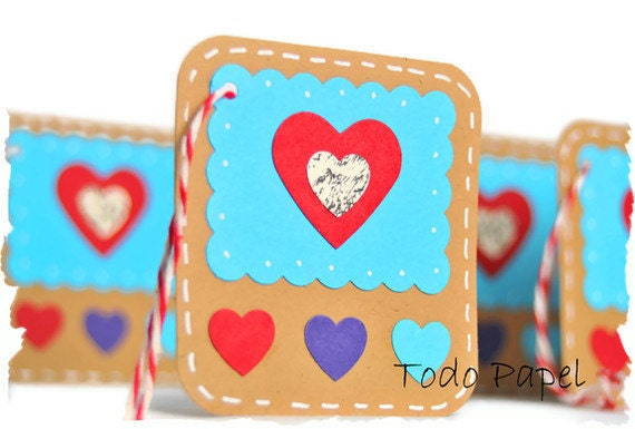 Turquoise Heart gift tags gift embellishment. Red, aqua kraft paper hang tags 6 set. Romantic Gift Tags Set, Gift wrapping, Gift Topper