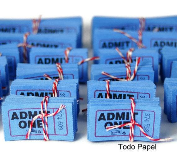 Admit one tickets . scrapbook embellishment . numbered . cobalt blue . cinema . movies . theatre . carnival . set of 50 . scrapbook idea