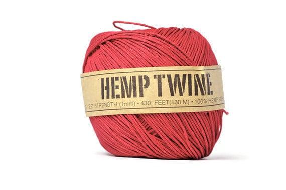 Red hemp fiber cord . 100% natural . 20 yards . string . gift wrap ties . supplies . gift tag . yarn . ribbon